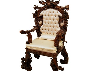 7711 Massive Over The Top French Rococo Throne Chair