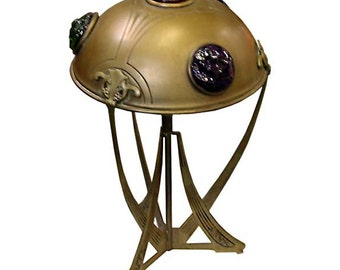 6344 Unusual Art Nouveau Table Lamp with Multi Colored Chunk Jewels
