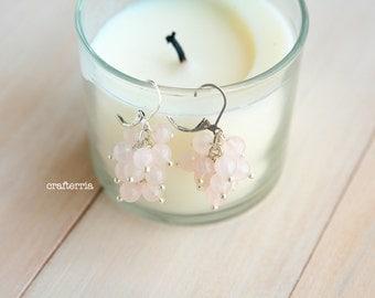 Pink quartz grapevine earrings, Quartz earrings, Pink earrings, Grapevine earrings, Boho earrings, Bridal earrings, Gemstone earrings