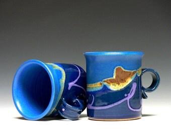 Set of 2, Stoneware Mugs, Pottery Mugs, Ceramic Mugs, Coffee Mugs
