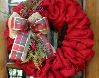 Burlap Wreath, Winter wreath, Christmas wreath, Rustic country Christmas, Red Burlap,  Holiday wreath, Christmas door wreath