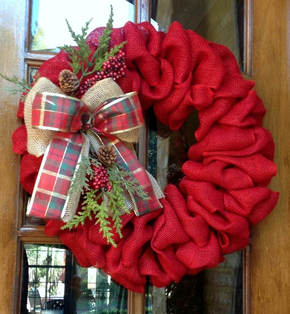 Burlap wreath winter wreath christmas wreath rustic by Burlap xmas wreath