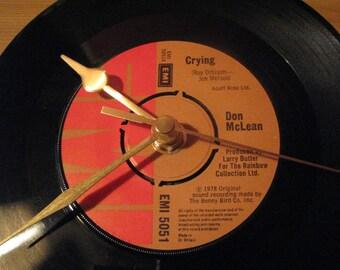 "Don McLean crying  7"" vinyl record clock"
