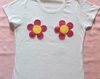 Flower Fun! Funny white t-shirt with applique felt flower designs silly tshirt fun tshirt quirky tshirt cheeky tshirt