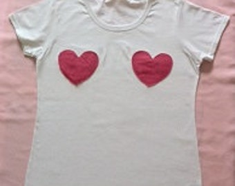 Love Bumps! Funny quirky skinny fit women's white t-shirt with applique felt heart designs