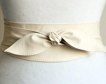 Cream Bridal Belt | Obi Belt | Wedding Belt | Cream Leather Obi Belt | Plus Size Belt | Leather Accessory | Cream Leather Belt | Sash Belt