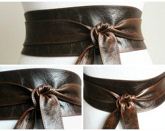 Vintage Dark Brown Leather Obi Belt wrap tie| Waist or Hip Belt | Leather tie belt | Real Leather Belt| Handmade Belt | Plus size belt