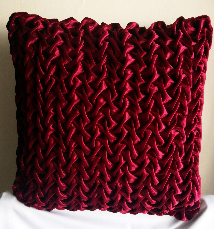 Velvet Pillow Cover 16x16 Decorative Pillow Red Maroon Velvet