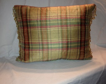 Yellow Silk Plaid Beaded Pillow Cover