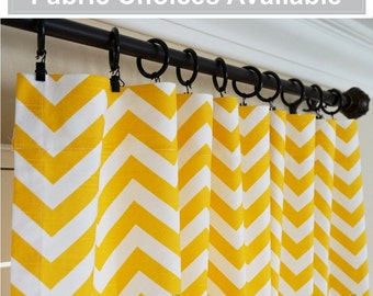 TWO Yellow White Window Treatments.Yellow Curtains.Nautical Curtain  Panels.Nursery Curtains 63
