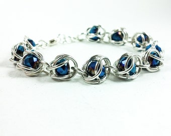 Women's Handmade Captured Bead Chainmaille Bracelet
