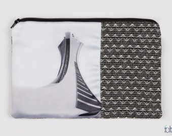 """Holster/pouch """"Olympic Stadium"""" - photo of Montreal icon printed on satin, black & white"""