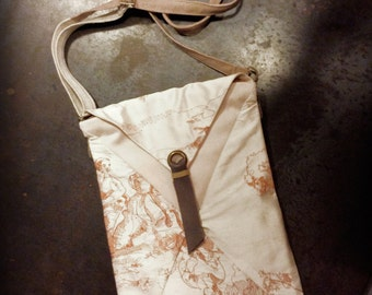Small bag with shoulder strap embroidered silk