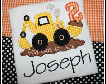 Construction 2nd Birthday Shirt ...Numbers 1-9..Personalized Construction Truck~Digger