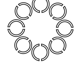Cut Circles Circle SVG Cutting Pattern - For printing, stencils, cutting and material printing