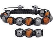 Shamballa Bracelet, Shambala Bracelet, Tigers Eye Bracelet, magnetic hematite and tigers eye, Gift Idea, Mens Bracelet ,Womens Bracelet