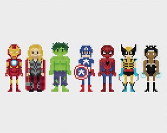 Marvel Superheroes Cross Stitch Pattern PDF Instant Download
