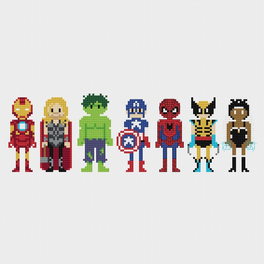 Marvel Superheroes Cross Stitch Pattern PDF Instant Download