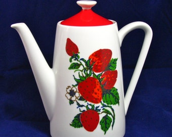 Strawberry Coffee Pot/ 1950s Kitchen/ Topline Imports, Inc Japan/ Red and White/ Strawberry Teapot