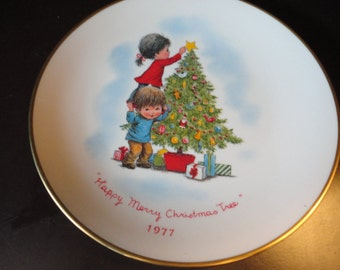 """Fran Mar Moppets """"Happy Merry Christmas Tree"""" Plate"""
