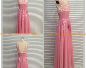 A Line Lace Wedding dress, Long Prom Chiffon Dress, Prom Dress Bridesmaid Dress