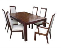 REDUCED !! Mid Century Modern Wood Dining Table w/ 6 Chairs by Formica Made in Italy