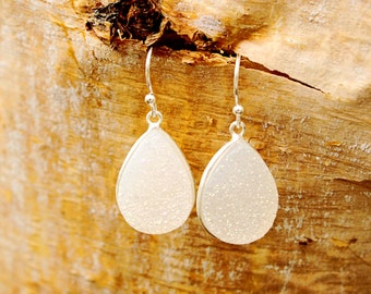 White Druzy Earrings Sterling Silver Earrings Teardrop Earrings Sparkly Earrings Dangle Earrings Valentine Gift White Stone Geode Earrings