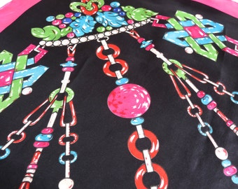 Cartier silk scarf. Black and pink scarf. Art Deco jewelry pattern. Must de Cartier