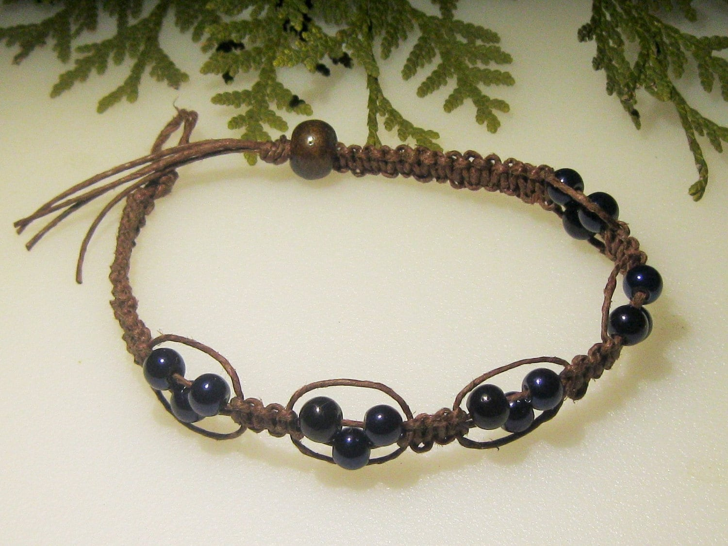 hemp bracelet hemp anklet navy beaded hemp by