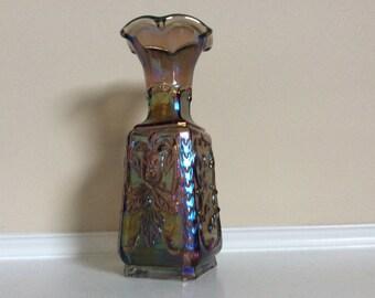 Lovely Imperial Blue Amethyst Carnival Jester Flower and Iridescent Glass Vase.