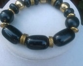 Black Wood and Brass Disk Stretch Unisex Bracelet