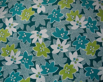 Handmade lampshade vintage inspired repeated pattern of bright turquoise, teal, lime green and white mimosa flowers