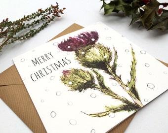 Flower of Scotland Christmas Card- Scottish Christmas Card - Thistle Christmas Greetings Card -