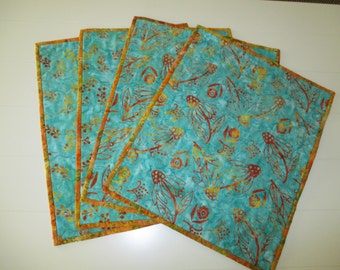Handmade quilted batik placemats.