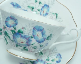 Royal Albert Vintage Fine Bone China Wide Mouth Tea Cup and Saucer Made in England Blue Morning Glory Flowers Gold Trim