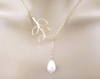 Sideways, Branch, White, Pearl, Gold, Silver, Necklace, Modern, Tree, Jewelry, Lovers, Friends, Sister, Gift