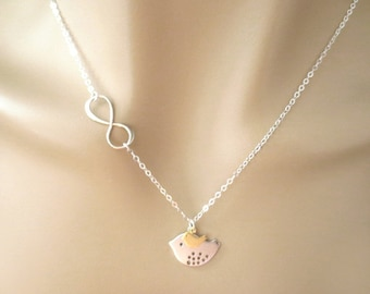 Silver mom and gold baby, Birds, Sterling silver, Chain, Sideways, Infinity, Sign, Silver, Necklace, Lovers, Friends, Gift
