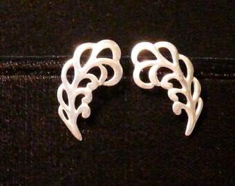 Sterling silver pierced plume earrings