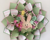 Easter Bunny Wreath in spring green and pink argyle print