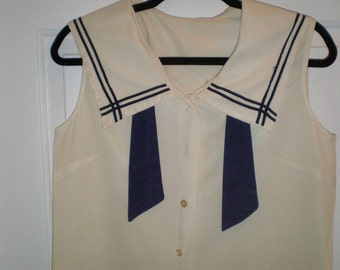 Very Playful, Vintage, 1950s, Summer,  Sailor Top, Nautical
