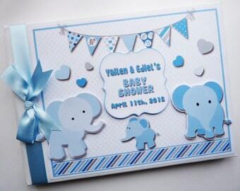 blue elephant baby shower guest book memory album scrapbook gift