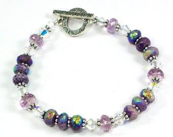 Sugilite Bracelet | Purple Bracelet | Pink Amethyst Bracelet | Swarovski Bracelet | Sugilite Jewelry | Solana Kai Designs | Portland Oregon