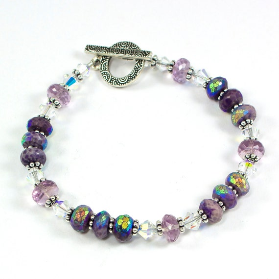 Handmade OOAK Bracelet Sugilite Pink Amethyst Swarovski AB Silver With Decorative Toggle Clasp