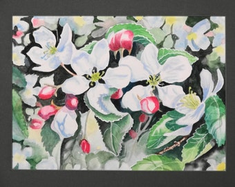 "Original watercolor ""Spring blossoms""-New Jersey-marsh flowers-leaves- shadows-red buds-color"