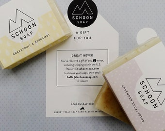 Gift certificate: Any three soaps + shipping