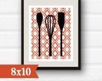 Kitchen Decor - Kitchen Utensils - Spatula, Whisk, Spoon Kitchen Art - Kitchen Print - 8x10 - sale