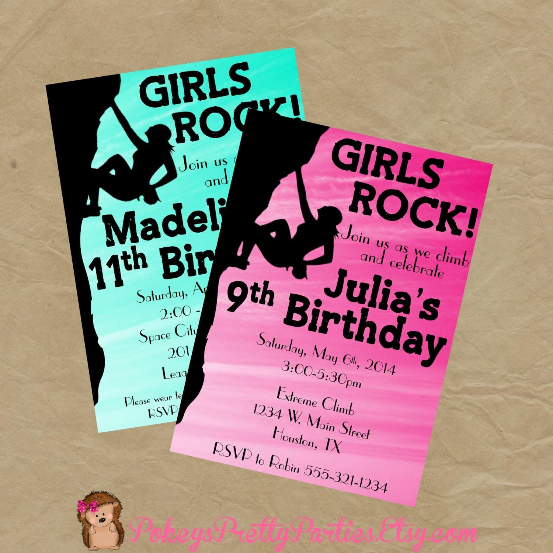 Rock Wall Climbing Birthday Party Invitation Girls Invite