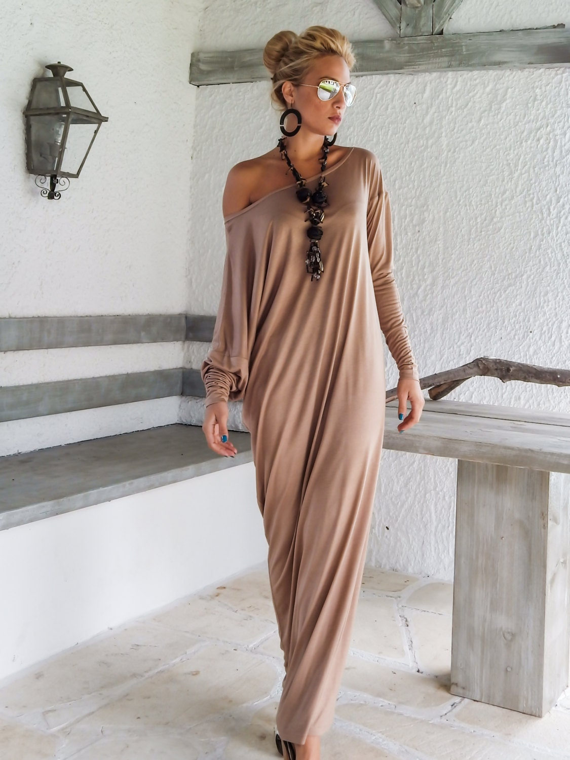 taupe maxi long sleeve dress taupe kaftan by. Black Bedroom Furniture Sets. Home Design Ideas