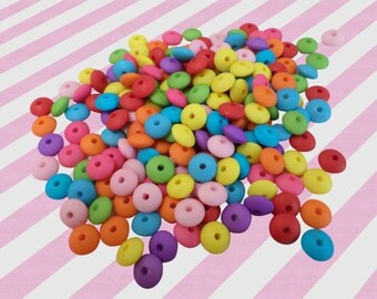Rainbow Candy Necklace Beads, Acrylic Beads - 5mm x 10mm, 100 pc set