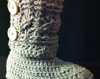 Cable Cuff Slipper Boot Crochet Pattern